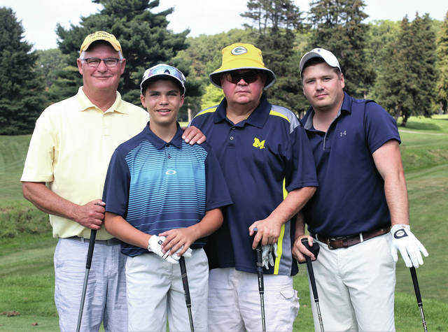 The Andrew McNeill Memorial Golf Outing was recently held by the Swanton Chamber of Commerce. The winning team, from left, was, Todd Betz, Sam Betz, John Zeiler and Brad Betz. They won by one stroke with a 58 and defended their title from last year.