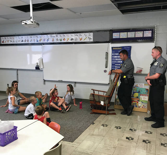 The annual Swanton Safety Village was held last week. Incoming kindergarten students learned about many different areas of safety, including information from Swanton police officers, above.