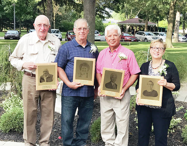 2017 inductees into the Fulton County Agricultural Hall of Fame are, from left, Walt Lange, Cathy Leininger (posthumously, husband Lee accepting), Bill Serna, and Jane Wyse.