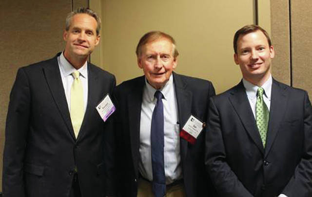 Daniel P. McQuade is pictured with OSBA President Randall Comer, left, and District 3 Representative to the OSBA Board of Governors R. Benjamin Franz, right.
