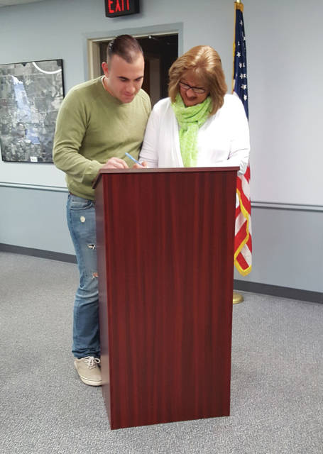 JD Rahmen was sworn-in last Monday as a full-time police officer by Swanton Mayor Ann Roth.