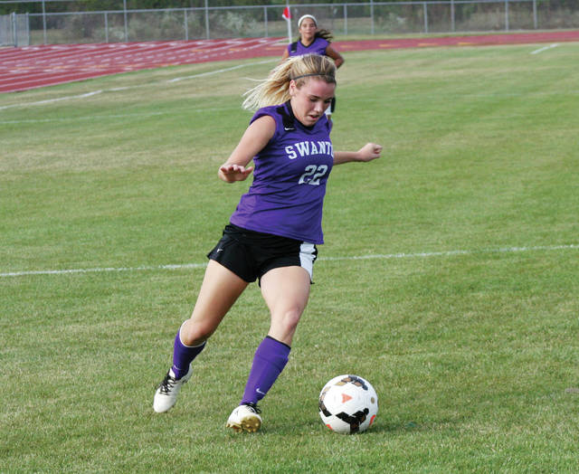 Bridget Harlett of Swanton advances the ball towards the Wauseon goal during Tuesday's NWOAL contest. She scored a pair for the Bulldogs in their 4-1 win.