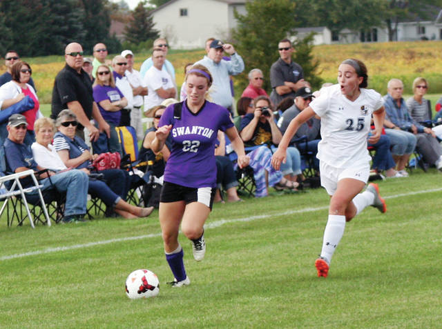 Swanton's Bridget Harlett races upfield in a league game at Archbold earlier this year. She was named second team All-NWOAL last week.