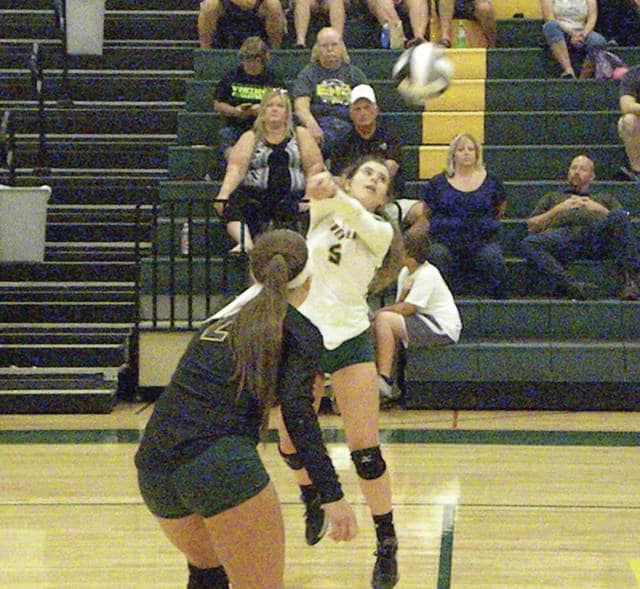 Cecilia Silvestri of Evergreen with a dig last Tuesday versus Delta in NWOAL play. The Vikings outlasted the Panthers in four sets.