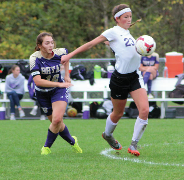 Haley Nelson of Swanton, right, controls possession in a game against Bryan earlier this season. Nelson made second team All-Ohio in Division III.