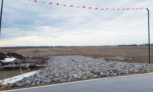 Preliminary work has begun on the NEXUS pipeline project that will run to the west of Swanton. The entire pipeline will stretch from eastern Ohio to Canada. Above, a stone drive has been set up at County Road H between County Roads 3 and 4 for the project.