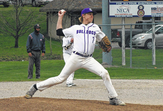 Roman Epley on the mound for Swanton in a game last season. He returns for his junior season.