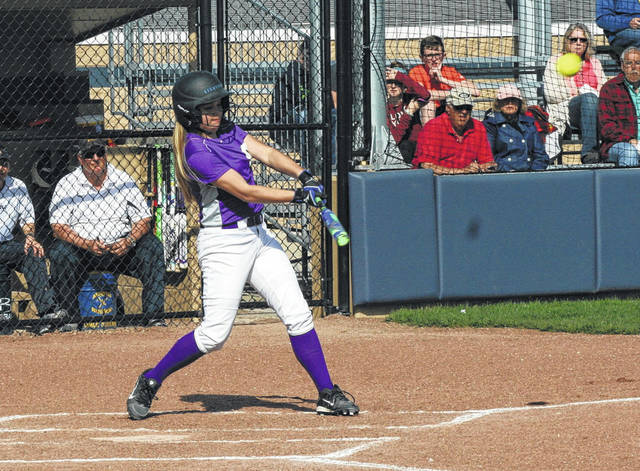 Swanton's Kylie Ulch blasts a home run in a game at Archbold last season. Ulch returns for the Bulldogs in 2018.