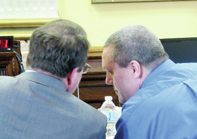 Defendant James Worley consulted often with attorney Merle Beck during Wednesday's proceedings of the Sierah Joughin murder trial.