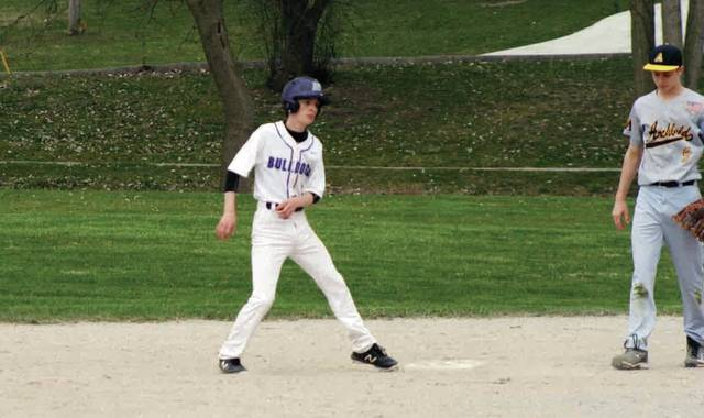 Tommy Chonko of Swanton gets to second on a wild pitch from Archbold during last Monday's contest.