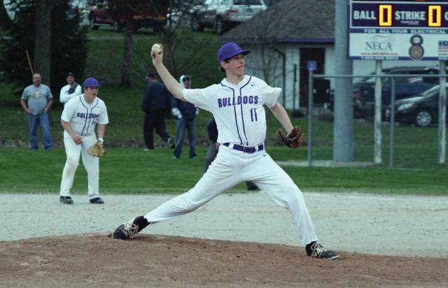 Zach Bloom pitches for Swanton against Archbold in a league game this season. He was recently chosen first team All-NWOAL.