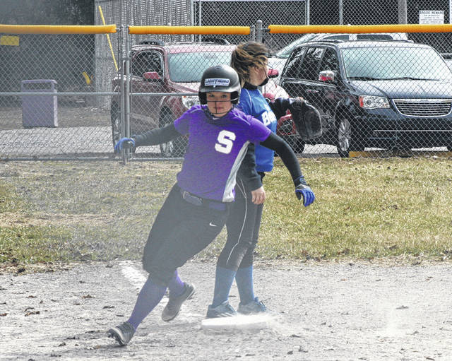 Swanton's Kylie Ulch rounds third base and heads home during a game this season. She was second team All-NWOAL for the Bulldogs.