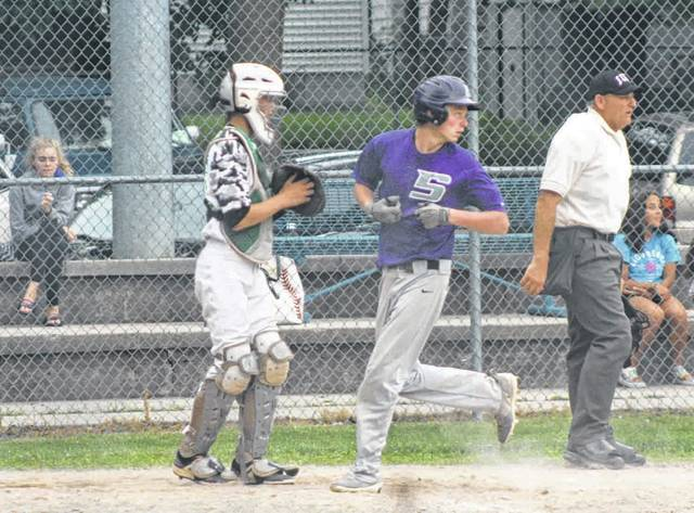 Devon Crouse scores a run for Swanton Thursday versus Delta in ACME baseball. The Bulldogs defeated their rivals to the west, 9-1.