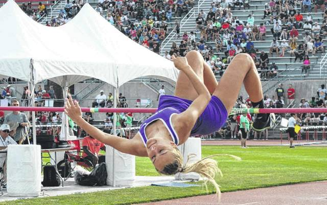 Julia Smith of Swanton clears the bar in the Division III girls high jump Friday afternoon. She secured the state title after clearing 5 feet, 7 inches.