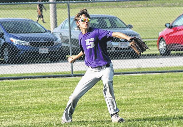 Blake Szalapski of Swanton gets to a base hit and throws it back in Thursday against Pettisville in ACME baseball. The Bulldogs fell to the Blackbirds 11-1 in five innings.