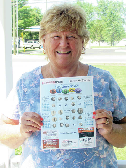"Sharon Conrad of Swanton was a two-time $25 winner in the Swanton Enterprise/Fulton County Expositor Bingo game. She won with the letters ""F' and ""S."""