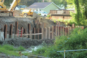 Bridge, sewer work continues