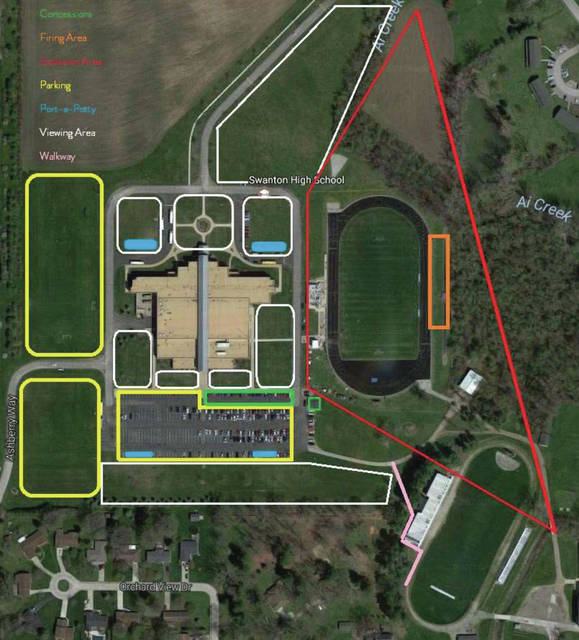The map illustrates parking, viewing and other areas for the Swanton Fireworks Fest.